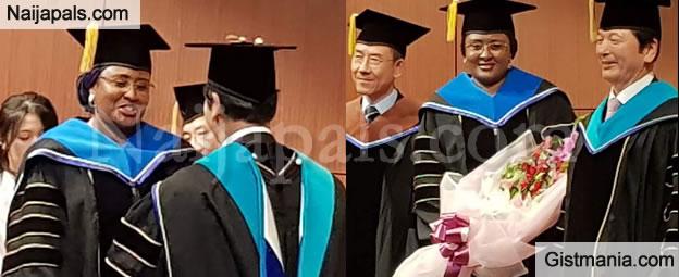 PHOTOS !!!: President Buhari's Wife, Aisha Honoured With Doctorate Award By Sun Moon University, South Korea