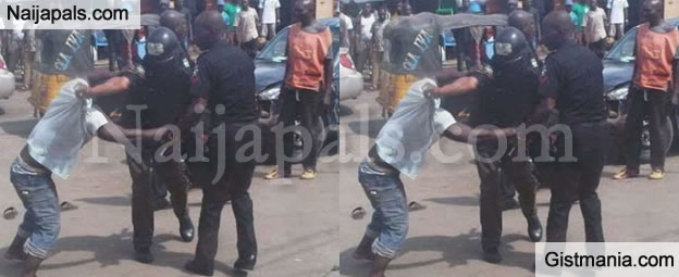 SHOCKING!!!:  Nigerian Man Brutally Beats up 4 Police Officers And Seized Their Arms In Lagos State