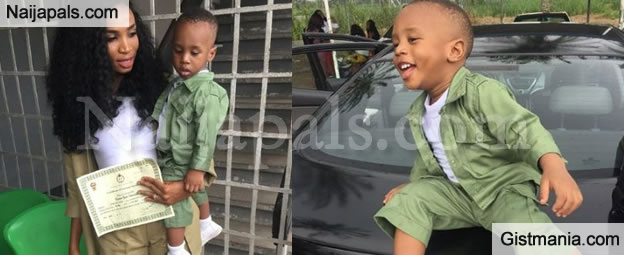 PHOTOS!!!:  Adorable Photos Of A Little Boy Dressed In NYSC Khaki By Mum Who Is Passing Out Today