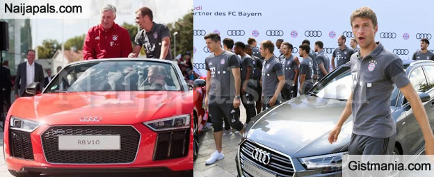 bayern munich players coach carlo ancelotti all smiles as they get new audi sports cars. Black Bedroom Furniture Sets. Home Design Ideas
