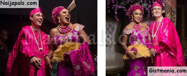 See Photos From Pretty Nigerian Lady, Beverly And Her Oyinbo Husband's Traditional Wedding