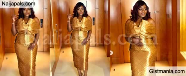 HOT!!!: BBNaija Housemate, Bisola Dazzled As She Steps Out In A Stunning Gold Dress (Photos)