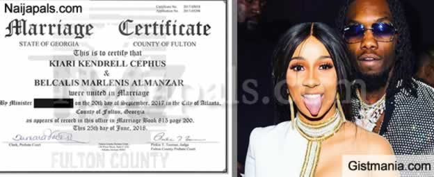 Photo Of Offset And Cardi B Marriage Certificate (They