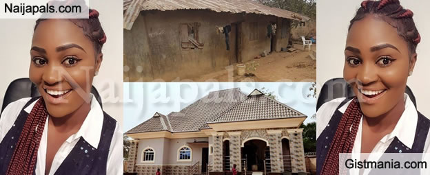 WOW!!!: HOT Nollywood Actress, Chizzy Alichi Replaces Her Parents Mud House With A Mansion (Photos)