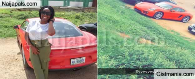 HOT!!!:  Female Youth Corper Sent Tongues Wagging As She Steps Out In A Porsche Car For Clearance In Abuja