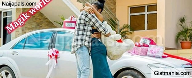 man surprises his girlfriend with a new mercedes benz s class as birthday gift photo gistmania. Black Bedroom Furniture Sets. Home Design Ideas