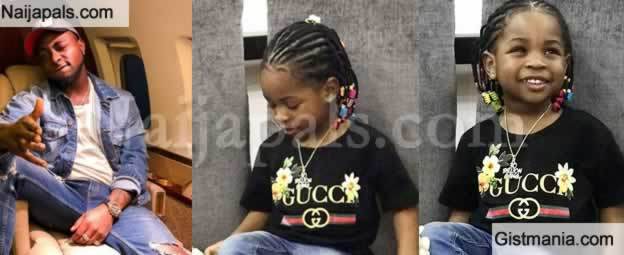 WOW Cute Pictures Of Davido's 3 Year-Old Daughter, Imade Looking Sharp In Gucci Shirt