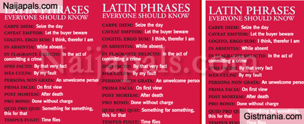 Some Common Latin Phrase That You Are Likely To Come Across Everyday - See List - Gistmania