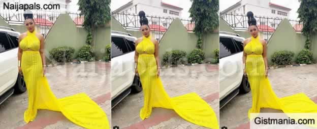 HOT UKWU !!!: Actress, Lilian Esoro Shares Lovely Photos As She Stuns In Flowing Yellow Gown