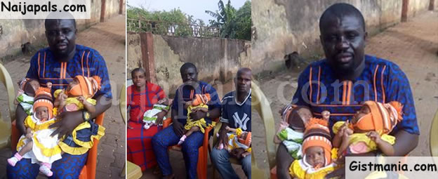 Man Who Fled After His Wife Gave Birth To Triplets In Edo, Finally Comes Home (Photos)
