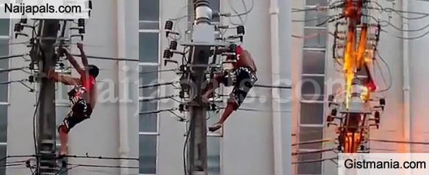 Man On Fire Pole : Man gets electrocuted after climbing an electric pole to