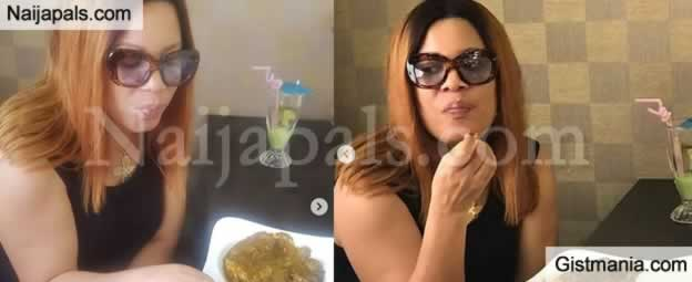PHOTOS !!!:  YUMMY! Nollywood Actress, Monalisa Chinda Pictured Eating Banga Soup And Starch