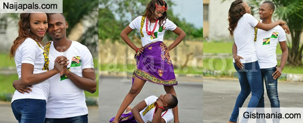 SHOCKING!!!:  Nigerian Man Stares Under His Fiancee's Open Legs In An Awkward Pre-wedding Photos