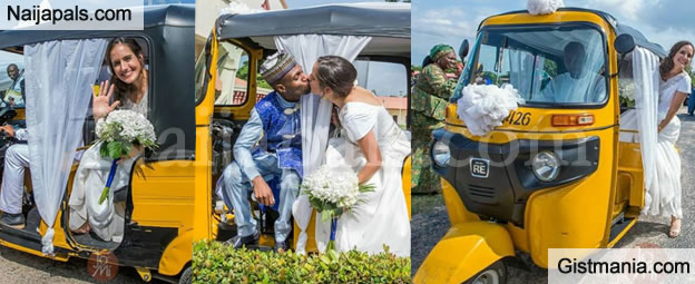 WOW PHOTOS !!!: Nigerian Man And His American Bride Cause Stir As They Wed With 'Keke Napep'
