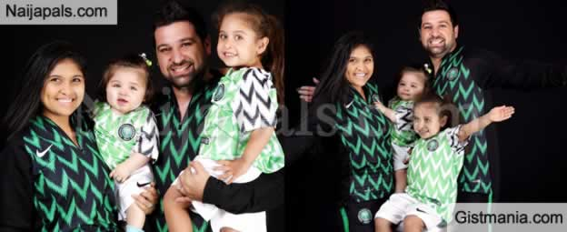 PHOTOS-  Beautiful Photos Of Oyinbo Couple & Their Kids Rocking The Super Eagles Kits Went Viral On Internet