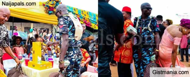 Nigerians Reacts After Lagos Big Boy Reduced A Policeman To An Errand Boy At A Wedding In Imo State