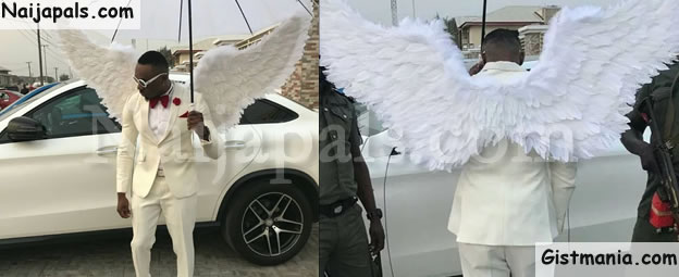 Controversial Socialite, Pretty Mike Attends Wedding In Lagos Dressed In An Angelic Costume (Photos)