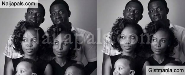 SO CUTE! Adorable Family Photo Of Two Set Of Twins Who Got Married & Have Kids On Same Day