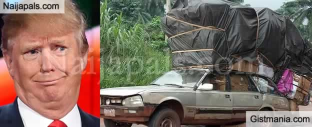 HABA!!! Photos Of A Ridiculously Overloaded Car Spotted On Benue-Onitsha Road